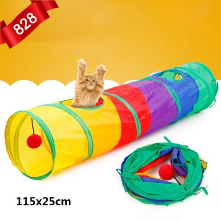 2019 HOT Funny Pet Tunnel Cat Play Rainbown Tunnel Brown Foldable 2 Holes Cat Tunnel Kitten Toy Bulk Toys Rabbit Tunnel Cat Cave