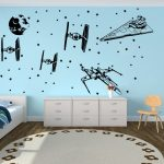 Cartoon Star Wars Spacecraft Star fighters Wall Decal Boy Room Kids Room Star Wars Death Star Fighter Wall Sticker Vinyl