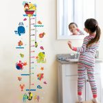 Child Growth Height Ruler Wall Sticker For Kids Room Cartoon Cat Animals Wall Stickers Baby Height Measure Ruler Wall Sticker