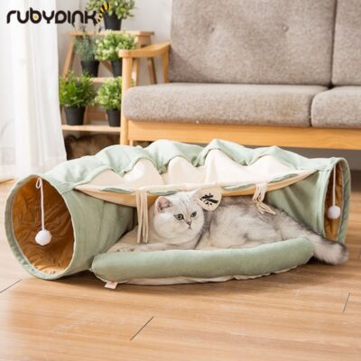 Funny Cat Tunnel bed Collapsible Crinkle Pet tent Kitten Puppy Ferrets Rabbit interactive Toys 2 holes Tunnel Pet cat nest
