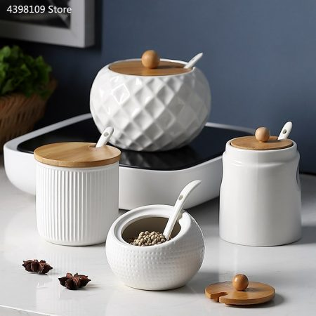 Household kitchen supplies salt shaker / ceramic wood cover seasoning jar olive oil bottle sugar bowl kitchen seasoning tools