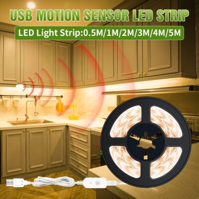 LED Strip Light Wireless PIR Motion Sensor Kitchen Light Cabinet 5V Auto on off Lighting Stair Wardrobe Closet USB Dimming Light