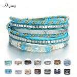 Multi-Layer Leather Wrap Bracelet Boho Braided Cuff Bangle Crystal Bead Bracelets Rhinestone Magnetic Clasp Bracelet for Women