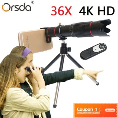 Orsda 4K HD 36X Optical Zoom Camera Lens Telephoto Lens Mobile Telescope Phone for Smartphone Cellphone lente para celular