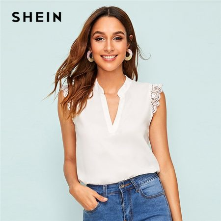 SHEIN V-Placket Lace Trim Shell Top 2019 Elegant V neck Stand Collar Summer Sleeveless Womens Tops and Blouses