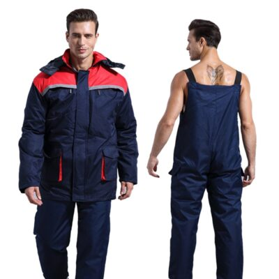 Winter Working Clothing Men Cold Storage Overalls Thick Warm Clothing Bib Cotton Suit Set Split Protective Safety Clothing