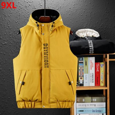 Winter men's cotton vest 9XL wear vest hooded autumn and winter cotton pad trend youth thickening 8XL 7XL