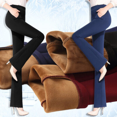 Women Pants Winter 2019 High Waist Wide Leg Pants Plus Size Warm Korean Flare Trousers Causal Cashmere Pants Balck Elegant Pants