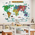 World map wall stickers for kids rooms home decor wall room stickers for decoration bedroom decor mural for kids house