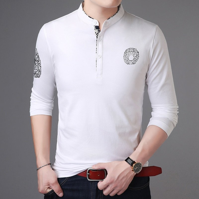 2020 New Fashion Brand Polo Shirt Mens Stand Collar Trends Tops Street Wear Mercerized Cotton Long Sleeve Polos Mens Clothing