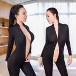 2020 Sexy Open Crotch Bodycon Long Sleeve Jumpsuits Fashion Mesh See-Through Black Romper Skinny Double Zipper Overalls Femme