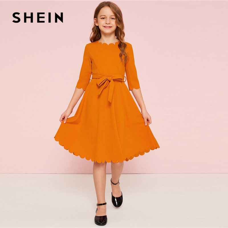 SHEIN Kiddie Solid Scalloped Hem Girl Party Dress With Belt Kids 2019 Summer High Waist Cute A Line Knee Length Flared Dresses